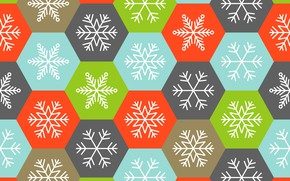 Picture winter, snowflakes, background, colorful, Christmas, winter, background, snowflakes, hexagons