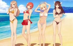 Picture girl, sexy, cleavage, beach, long hair, sea, boobs, anime, beautiful, short hair, pretty, redhead, brunette, …