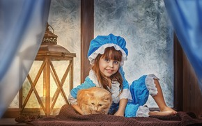 Picture winter, cat, cat, smile, animal, scarf, window, frost, costume, girl, lantern, curtains, sill, bumps, child, …