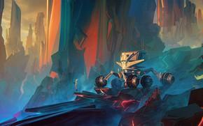 Picture fantasy, alien, science fiction, rocks, sci-fi, planet, artist, digital art, artwork, fantasy art, vehicle, Bastien …