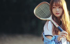 Picture summer, girl, face, background, model, hair, racket, Asian