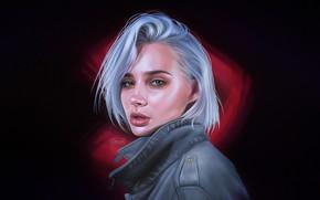 Picture Girl, Minimalism, Lips, Style, Face, Girl, Eyes, Style, Illustration, Minimalism, Halil Yıldırım, by Halil Yıldırım, …