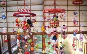 Picture decoration, toys, Japanese motifs