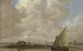 Picture landscape, picture, sail, Jan van Goyen, Jan van Goyen, River view from the hut on …