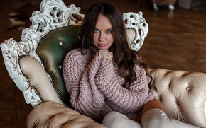 Picture girl, long hair, photo, photographer, blue eyes, model, lips, face, brunette, stocking, sitting, couch, portrait, …