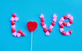 Picture Love, Candy, Blue, Happy, Inscription