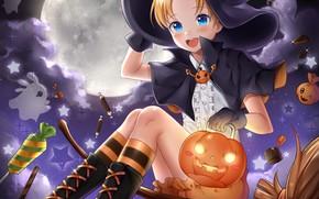 Picture girl, pumpkin, Halloween, witch
