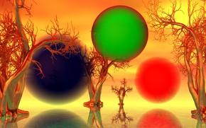 Picture trees, landscape, balls