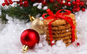 Picture snow, decoration, New Year, cookies, Christmas, Christmas, wood, snow, New Year, cookies, decoration, Merry
