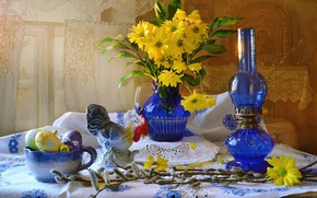Picture flowers, branches, holiday, lamp, eggs, Easter, pitcher, Verba, napkin, figure, cock, eggs, Valentina Fencing