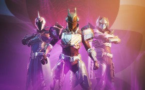 Picture weapons, background, the game, soldiers, armor, three, pink light, Destiny 2, Destiny 2: Shadowkeep