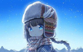 Picture hat, scarf, girl, baby