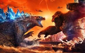 Picture King Kong, Monkey, King Kong, Ships, Battle, Two, Godzilla, Godzilla, Gorilla, 2021, Годзилла против Конга, …