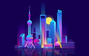 Picture Minimalism, Night, Tower, Vector, The city, Style, Building, China, The building, Shanghai, Shanghai, Architecture, Art, …