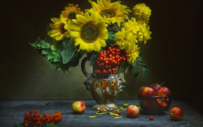 Picture sunflowers, flowers, apples, pitcher, still life, Rowan, bunches, Golden balls, Valentina Fencing