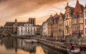 Picture the sky, sunset, bridge, river, home, the evening, channel, Belgium, Gent