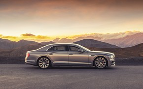 Picture sunset, Bentley, the evening, side view, Flying Spur, 2020, Blackline