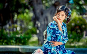 Picture girl, sweetheart, kimono, Asian, bokeh