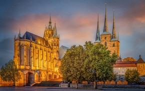 Picture the sky, trees, Germany, area, Church, Cathedral, tower, temple, Erfurt Cathedral