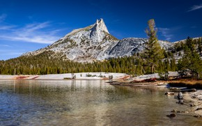 Picture mountains, rocks, shore, tops, pond