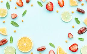 Picture berries, orange, strawberry, citrus, slices