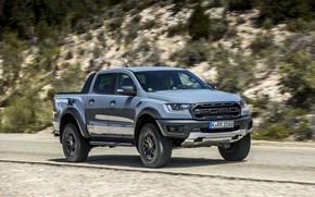 Picture road, grey, vegetation, Ford, slope, Raptor, pickup, Ranger, 2019