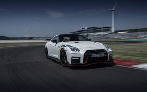 Picture white, Nissan, GT-R, track, R35, Nismo, 2020, acceleration, 2019