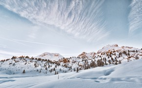 Picture winter, the sky, the sun, light, snow, trees, mountains
