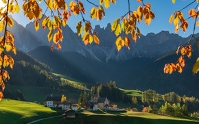Picture autumn, landscape, mountains, branches, nature, hills, the slopes, village, Italy, forest, meadows, The Dolomites