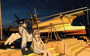 Picture night, boat, girls