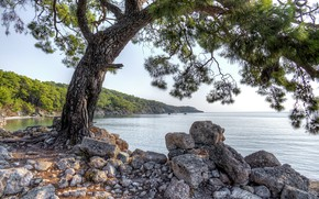 Picture water, stones, photo, coast, HDR, Turkey, Phaselis