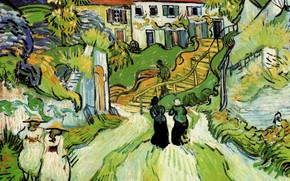Picture Vincent van Gogh, and Steps, in Auvers with Figures, Village Street