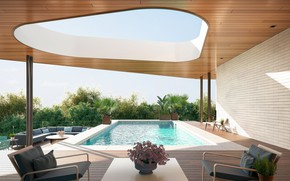 Picture water, flowers, furniture, pool, hole