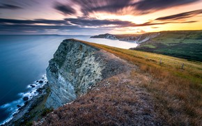 Picture long exposure, Jurassic sunset, Gad Cliff, Dorset coast