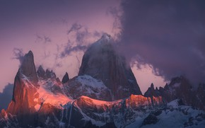 Picture winter, the sky, clouds, snow, sunset, mountains, nature, rocks, the evening, Argentina, Patagonia