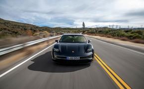 Picture black, Porsche, front view, 2020, Taycan, Taycan 4S