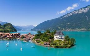 Picture mountains, the city, lake, Switzerland, Switzerland, Bern, Seeburg, Above Iseltwald