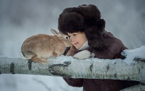 Picture winter, hat, rabbit, girl, log, friends