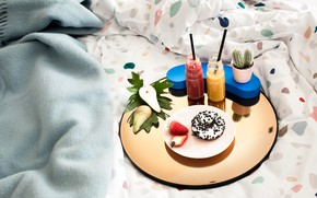 Picture Flower, Strawberry, Drink, Food, Breakfast, Cactus, Donut, Pear