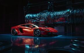 Picture Red, Auto, Lamborghini, Machine, Lamborghini Aventador, Rendering, Transport & Vehicles, by Praveen V. S, Praveen …