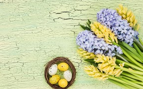 Picture flowers, bouquet, yellow, yellow, flowers, eggs, easter, hyacinths, hyacinth