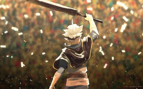 Picture sword, guy, Black Clover, Asta