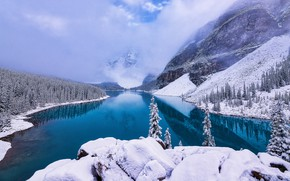Picture winter, forest, snow, mountains, lake, shore, ate, Canada, Albert, pond