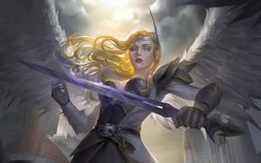 Picture look, girl, weapons, wings, angel, sword, armor, fantasy, art, angel