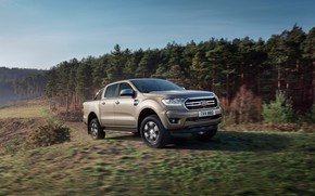 Picture machine, forest, trees, movement, Ford, pickup, Ranger Limited