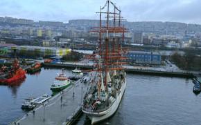Picture pier, bark, Murmansk, Sedov