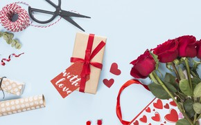 Picture holiday, gift, bouquet, scissors