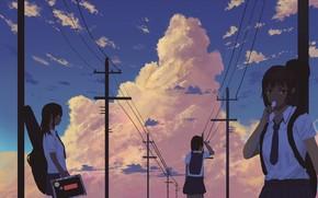 Picture the sky, Schoolgirls, power lines