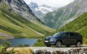 Picture road, mountains, vegetation, the slopes, pond, SUV, Skoda, Skoda, 2016, Kodiaq