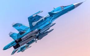 Picture fighter-bomber, Su-34, supersonic, Videoconferencing Russia, Su-34, 4++generation